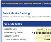 BDO-Smart SMS enrollment