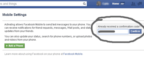 Facebook SMS activate