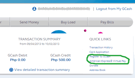 GCash Amex register