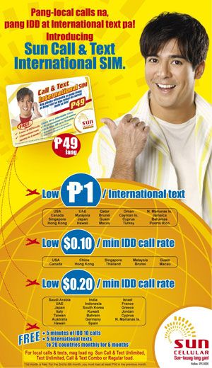 Sun Cellular international rates